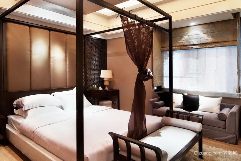 40平米大气中国风三室一厅卧室床装修效果图