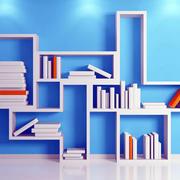 蓝色调书架设计图片