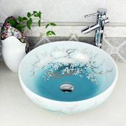 蓝色调卫生间水池