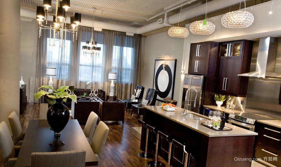 130平米奢华欧美风格深色色调小别墅装修效果图