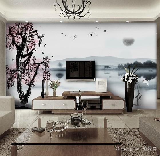 无与伦比的DIY手绘电视背景墙画装修效果图