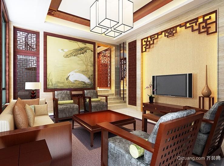 2015为您的家添气质的中式客厅电视背景墙装修效果图
