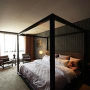 深色调三室一厅卧室
