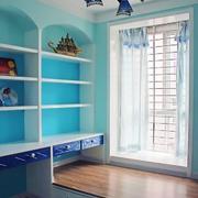 蓝白色调飘窗装修图片