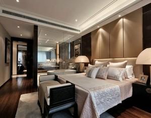 30平米庄重优雅的温暖卧室床头软包背景墙装修效果图