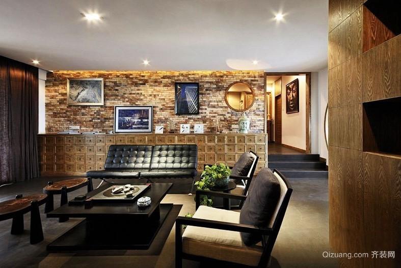 40平米大气高贵时尚新中式客厅装修效果图欣赏