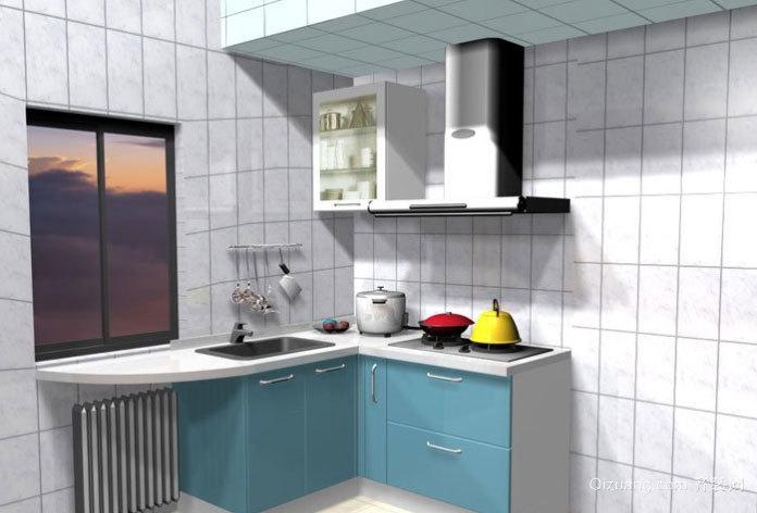放大封闭空间:小户型狭长厨房装修效果图