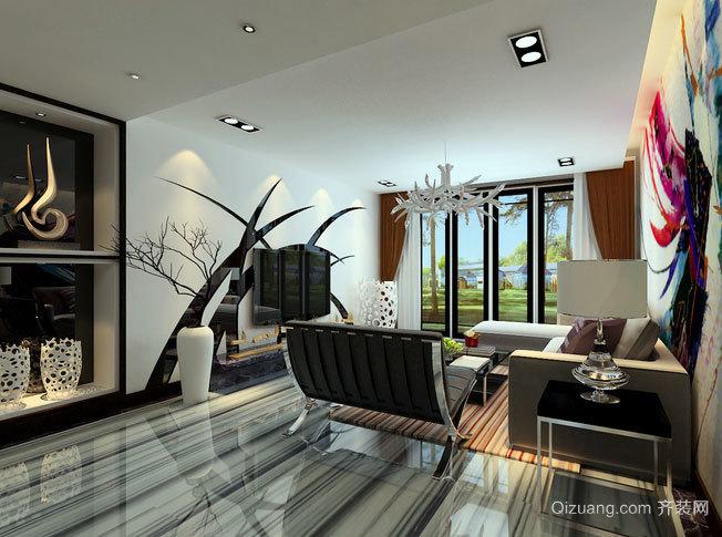 金属元素交织的都市风格两居室家居装修效果图