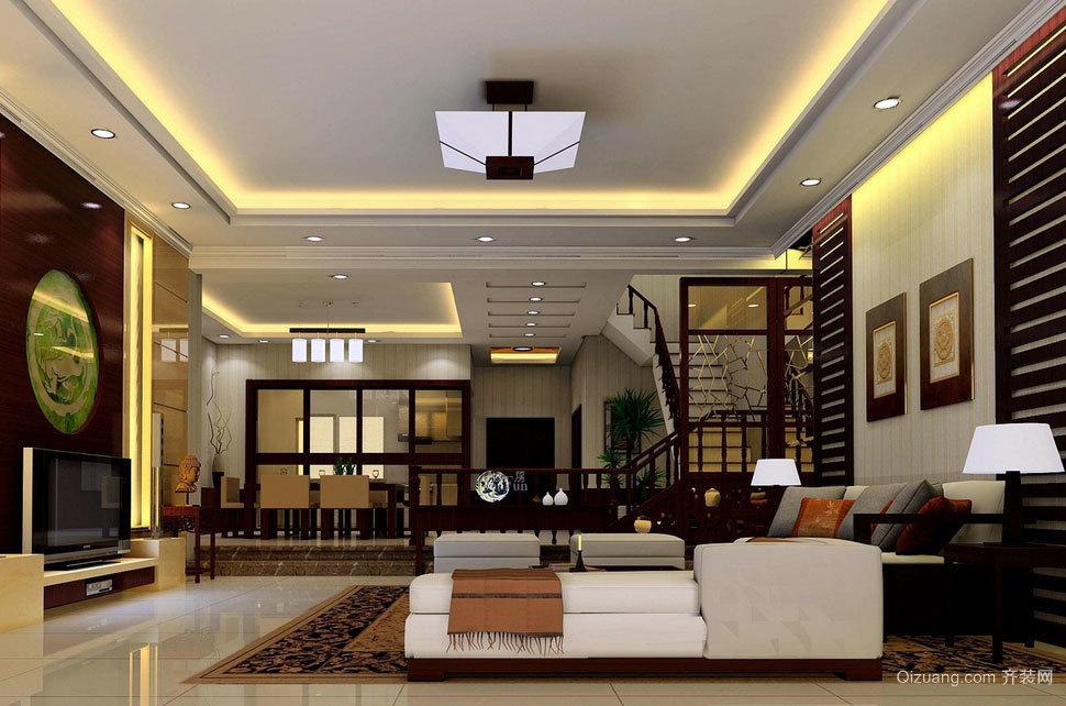 色彩浓厚 沉稳大气的大户型中式客厅吊顶装修效果图大全