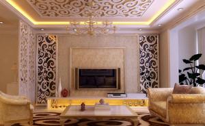 高贵气派的法式古典客厅吊顶装修效果图