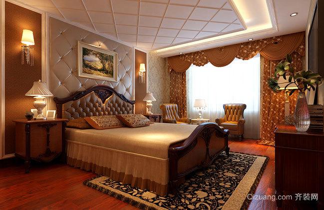 128㎡气派新古典风格的卧室背景墙装修效果图大全