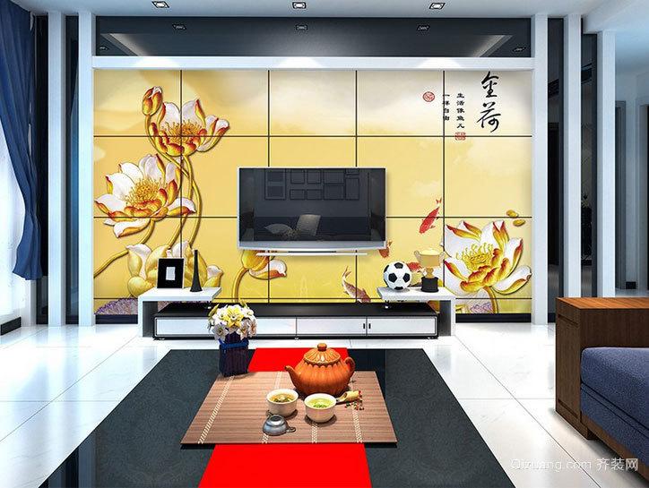 大户型辉煌璀璨的客厅瓷砖电视背景墙装修效果图大全