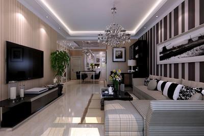 80平米现代简约讲究材料质地的两居室房屋装修效果图