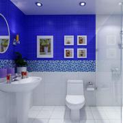 蓝白相间卫生间装修