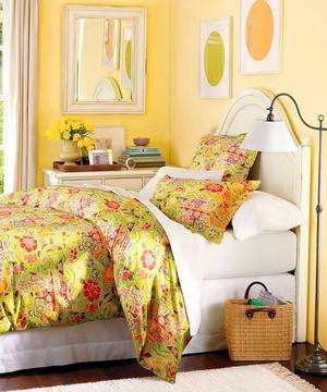 沐浴阳光 温暖橙色三室两厅两卫主卧装修效果图