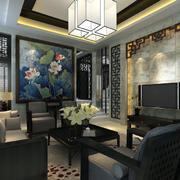 蓝色调中式客厅装修