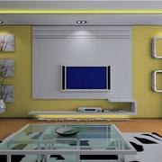淡黄色调影视墙效果图