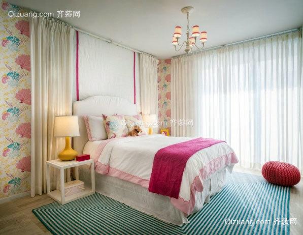 主卧床头柜效果图_温婉大气两居室主卧白色床头柜装修效果图齐