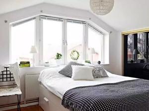 纯洁的白色中小户型卧室背景墙装修效果图