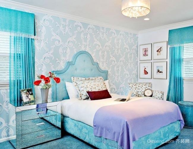 简约小清新100平米两居室小卧室壁纸装修效果图