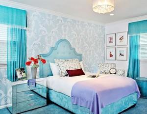 清新风格卧室壁纸装修