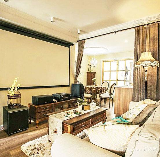 文艺气质田园美式风格100平米三室一厅家庭装修效果图