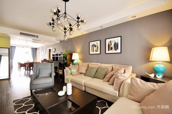 120平米三居室优雅明亮的中美式结合洋房装修效果图