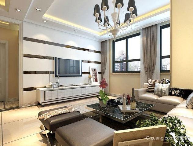 100平米经典完美的客厅影视墙效果图大全