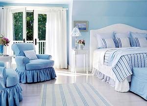 夏日里的精灵 清新海洋蓝卧室装修效果图