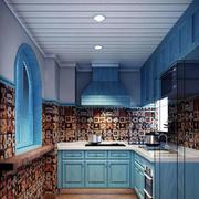 蓝色调橱柜装修图片