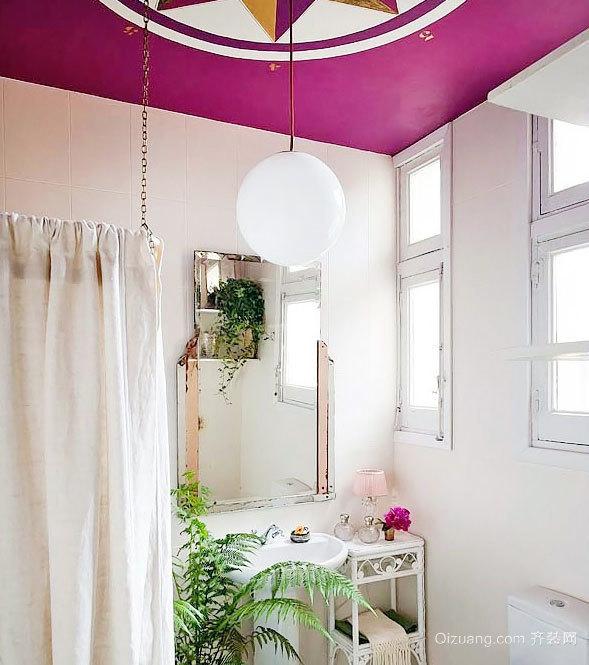 甜美的粉色系女生公寓卫生间设计装修效果图