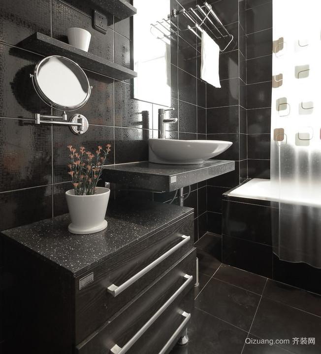 30平米专为小别墅设计的黑色系卫生间装修效果图