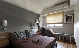 三室一厅现代都市风格卧室背景墙装修效果图