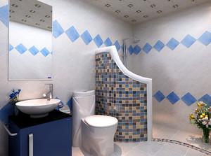 两室一厅梦幻蓝色简约风格卫生间装修效果图