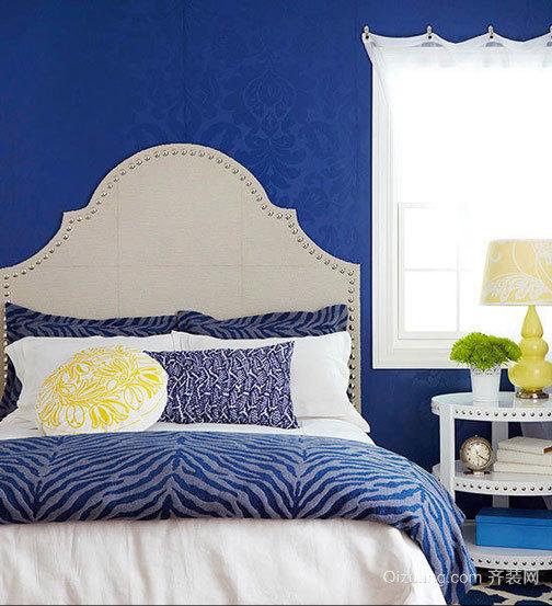 缤纷彩色简约田园小卧室床头软包装修设计效果图