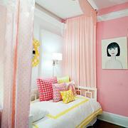 粉色调儿童房床装修