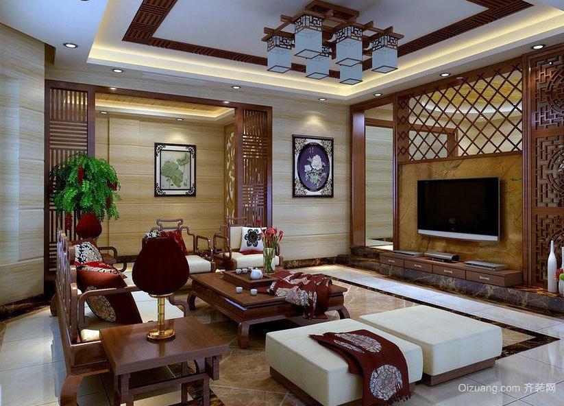 二居室时尚沉稳的现代中式客厅装修效果图鉴赏大全