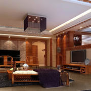 深色调中式客厅装修