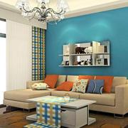 蓝色调背景墙设计