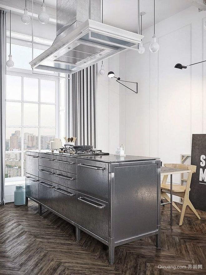120平米灰色工业风男士私人公寓装修效果图