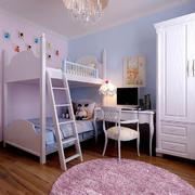 粉色调卧室高低床