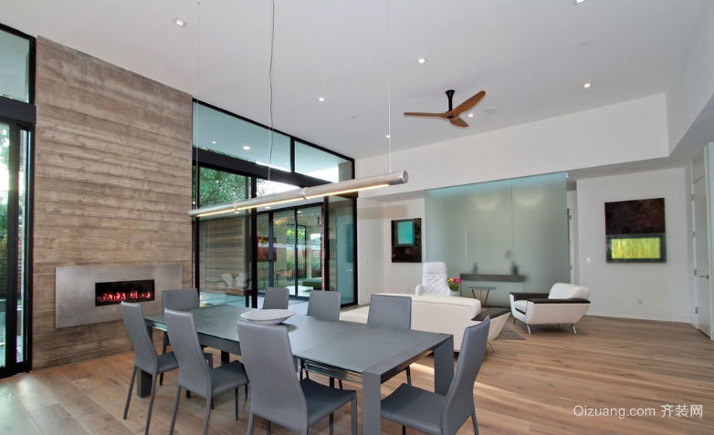 90平米现代简约风格客厅连带餐厅装修效果图