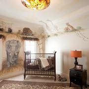 自然风格儿童房背景墙