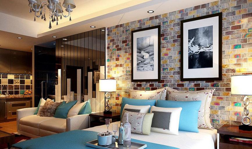 格局规划严谨的100平欧式单身公寓装修效果图
