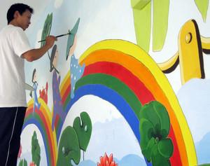 2015曼妙绚丽的都市幼儿园墙体彩绘装修效果图大全