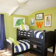 清新风格卧室高低床