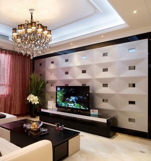 洋味儿十足的三室二厅欧式3d电视背景墙装修效果图大全