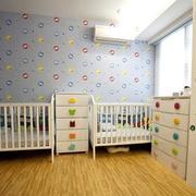 柔和型儿童房背景墙
