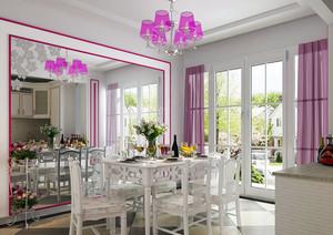 100平米清新浪漫温馨的韩式客厅餐厅一体装修效果图