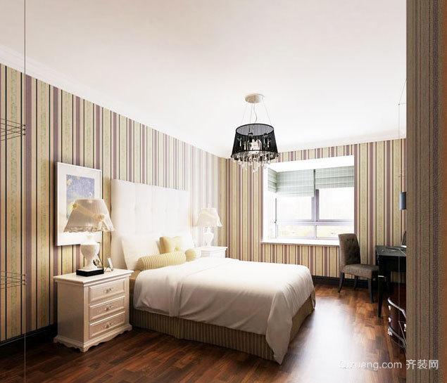 专为条纹控设计的单身公寓卧室壁纸装修效果图